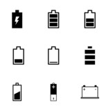 Vector black battery icon set - 73461450