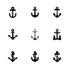 Vector black anchor icon set