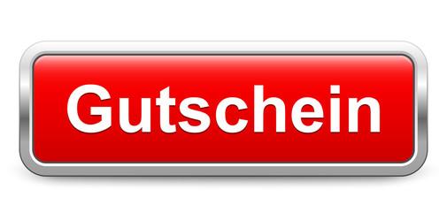Gutschein – rot metallisch Schild Knopf