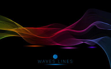 colorful night light waves line bright abstract pattern