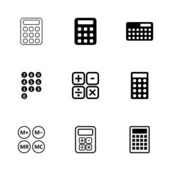 Vector black calculator icon set