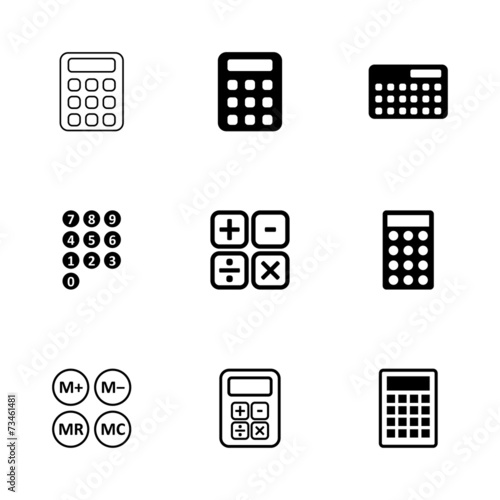 Vector black calculator icon set - 73461481