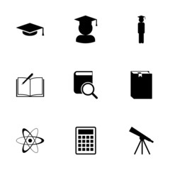 Vector black education icon set