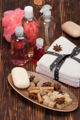 Spa Kit. Shampoo, Soap, Body Lotion. Towels. Spices. Wooden Back