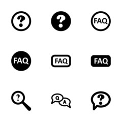 Vector black faq icon set