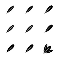 Vector black feather icon set