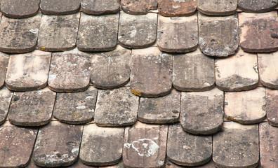 Ancienne couverture de tuiles de bois, Ingersheim, Alsace