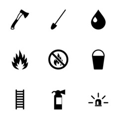 Vector black firefighter icon set