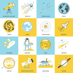 Flat line icons of astronomy. Modern vector set.
