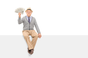 Senior gentleman holding money seated on panel
