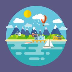 Concept vector landscape travel illustration. Flat design.