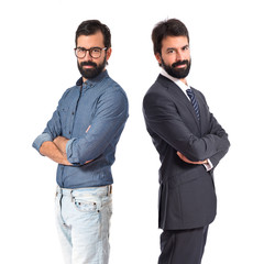 Brothers with his arms crossed over white background