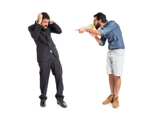 Frightened businessman over isolated white background
