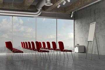 Seminarraum mit Stuhlreihen für Schulung