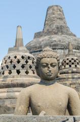 Statue at the Borobudur temple in Yogyakarta, Indonesia