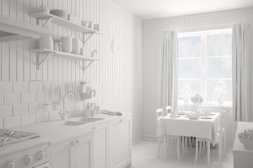 Interior einer Küche ganz in weiß