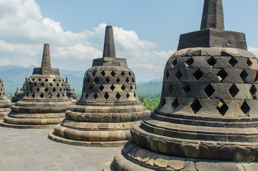 Stupa's at the Borobudur temple in Yogyakarta, Indonesia
