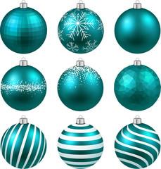 Set of realistic blue christmas balls.
