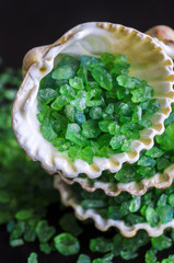 Green bath salt in a seashells
