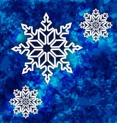 Christmas set snowflakes on dark blue grunge background