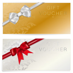Gold and silver gift voucher with bow - place for text