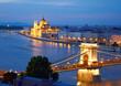 Budapest, Hungary. Chain Bridge and the Parliament