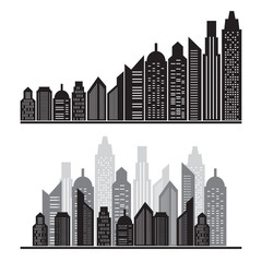 vector silhouette city icons set on white ,vector illustration