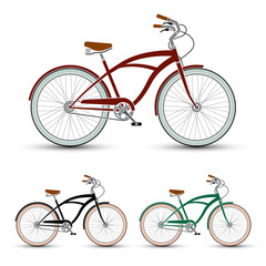 cruiser Style Bicycles set vector illustration