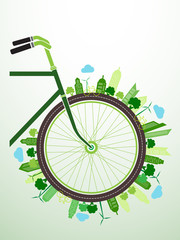 Bicycle Green City concept background ,vector illustration