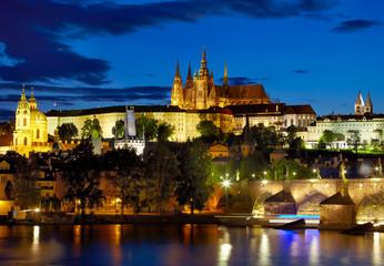 Lights of Prague Castle. Czech republic
