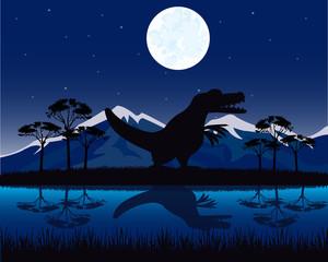 Dinosaur on nature
