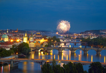 Prague after sunset with fireworks