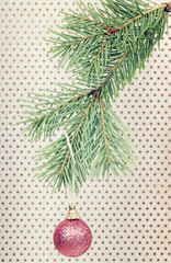 Christmas ball hanging on fir branch