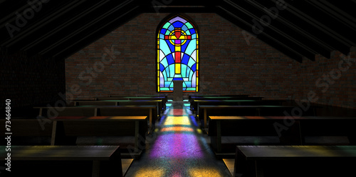 Stained Glass Window Church - 73464840
