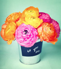 """Beautiful colorful ranunculus flowers in a bucket labeled """"to y"""