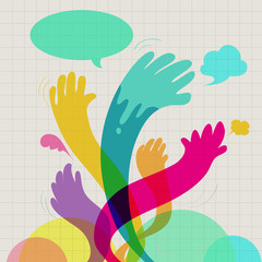 Colorful hands communication