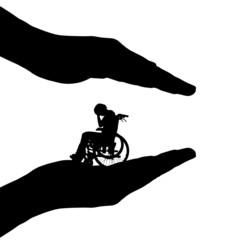 Vector silhouette of hands.