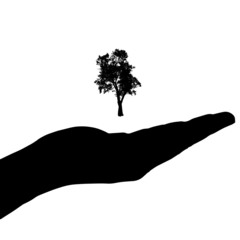 Vector silhouette of a hand with tree.