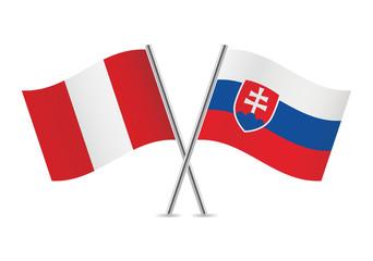 Slovakia and Peru flags. Vector illustration.