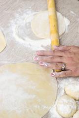 Chef Preparing pizza dough