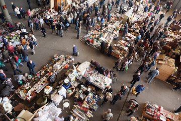 Top view of  flea market