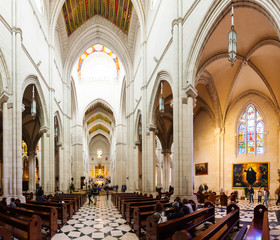 Inside of Almudena Cathedral  in Madrid, Spain.