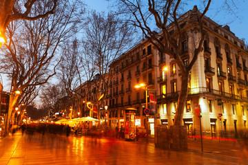 La Rambla in evening. Barcelona