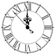 Image of an old antique wall clock 7 seconds to midnight or noon - 73467244