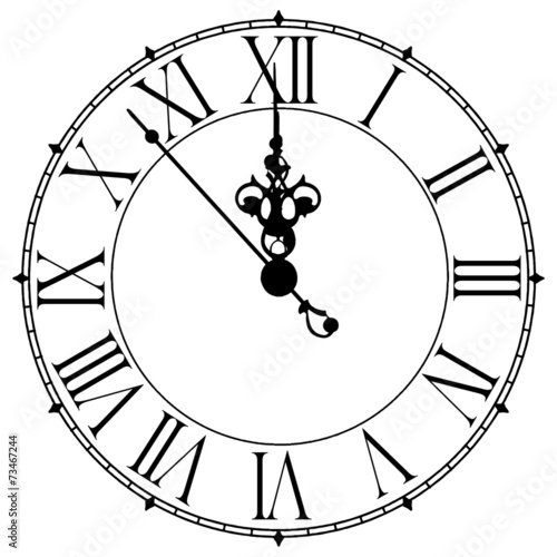 Leinwanddruck Bild Image of an old antique wall clock 7 seconds to midnight or noon