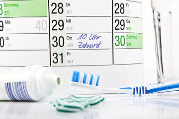 Termin für Zahnarztbesuch, Mundhygiene Artikel und Kalender