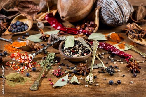Foto op Plexiglas Kruiderij Various Spices