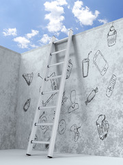 Ladder leading through the obstacles