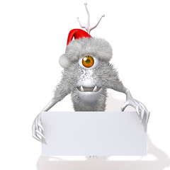 Cute Monster Santa Claus with white panel