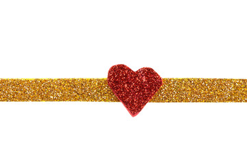 gold gift ribbon bow with red heart